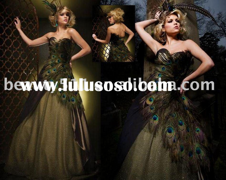 2011 peacock feather hot sell new arrival club wear prom dress evening dress EUAH0785