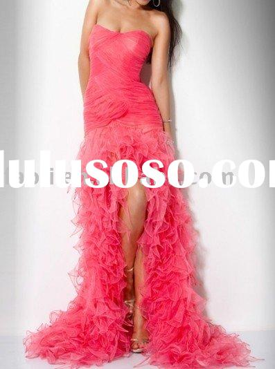 2011 strapless high slit ruffle prom dress