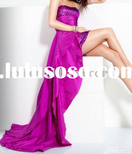 2011 strapless sequined tiered hi-low prom dress