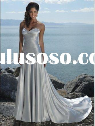 2011latest style strapless bead mermaid wedding dress prom dress bride gown