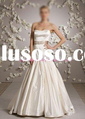 3009 Sleeveless Satin Formal Bridal Gown