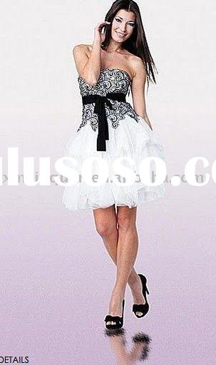 AC811 Free shipping white cascade chiffon with black lace cocktail dress