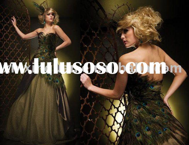 BTB530 Sweetheart with peacock feather prom  dress