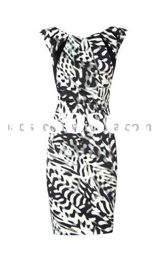 Black and White Print Dress DK037 free shipping party dress