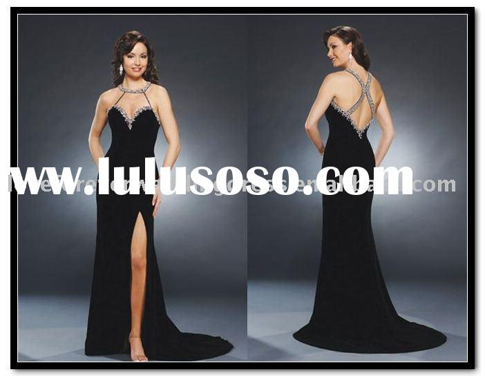 Black voile satin evening gown dress  LM-8700