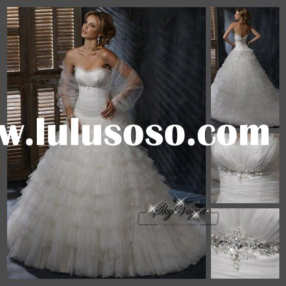 Classic A-line Strapless White Tulle Wedding Dress