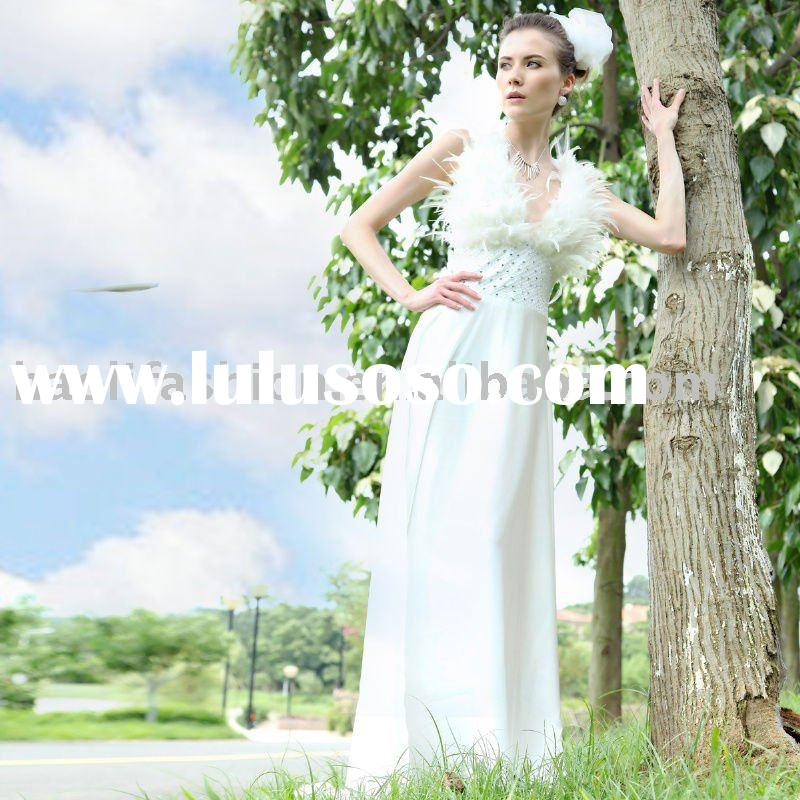 DORIS wholesale and hot sale sleeveless V-neck white feather satin prom gown 30157