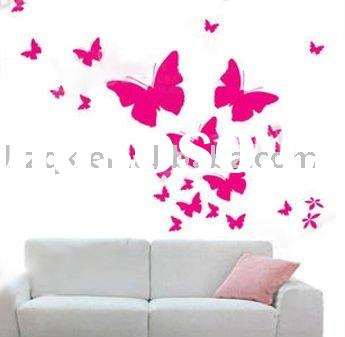 Decorative decal removable Wall stickers ,Printed embossed wallpaper,Butterflies