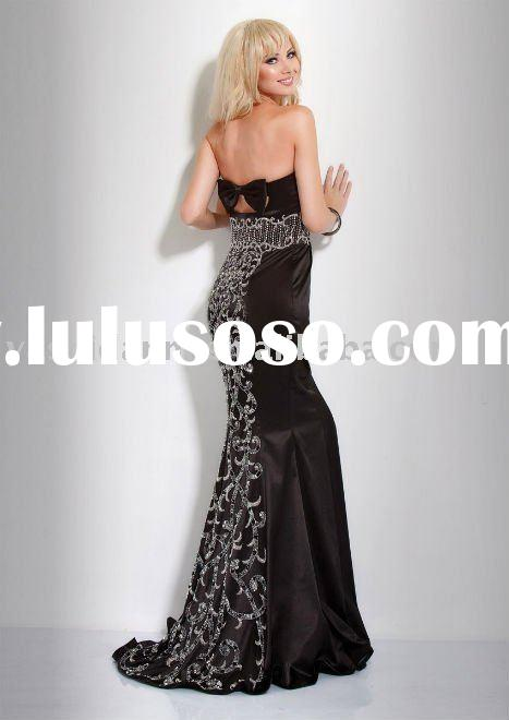 ED325030 luxurious Black prom dress crystal beads empire waist designer mermaid evening dress