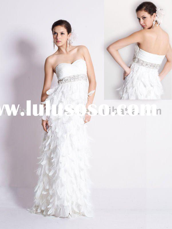 EN0011--A white feather with beaded wedding evening dress