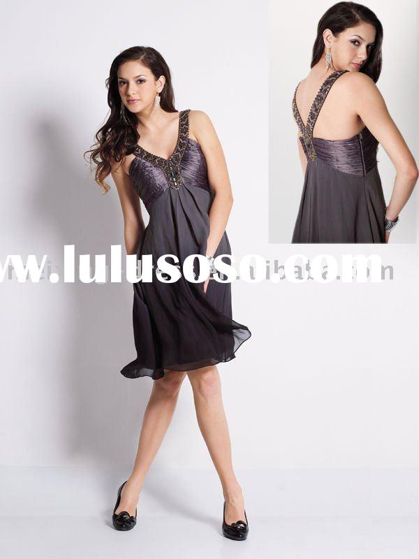 EN0104-Black/grey ombre novelty beaded silk short cocktail/party dress