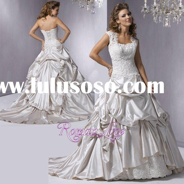 Elegant Cap Sleeve Lace Ruffle Stain Wedding Gowns