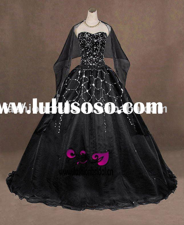 Fablous beaded black  ball gown prom dress