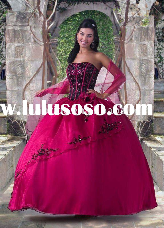 Fabulous strapless ball gown appliqued and beaded prom dress