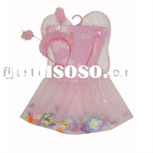 Fairy kids flower cute party short dress/clothing set with wing