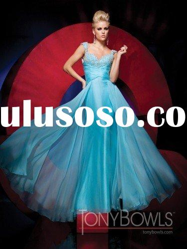 Free shipping New arrival cap sleeve long blue prom dresses 2011