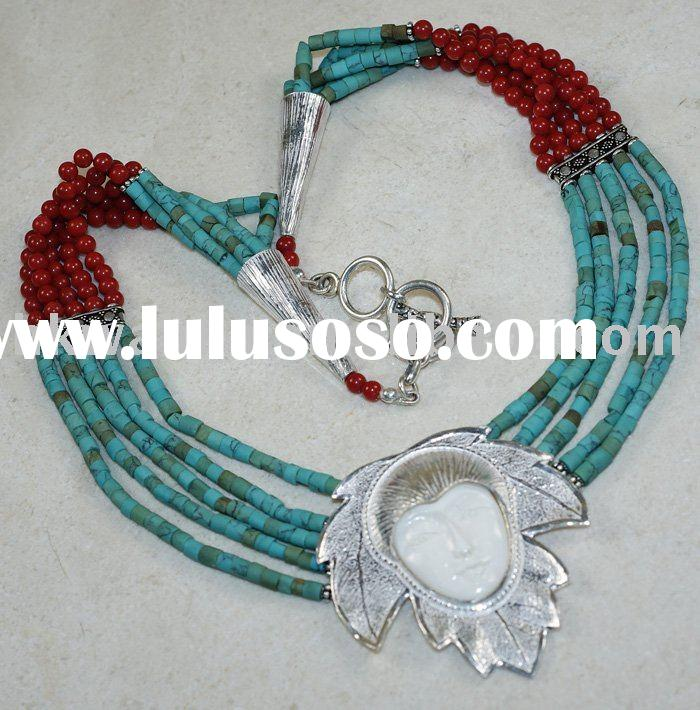 Goddess Face, Turquoise, Coral  Necklace Fashion Silver Jewelry