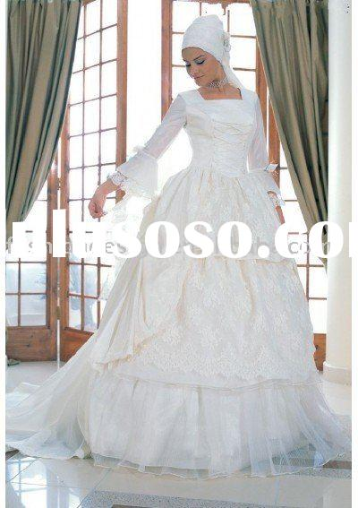 HLL0012 Fashion satin Long Sleeve Muslim wedding dress