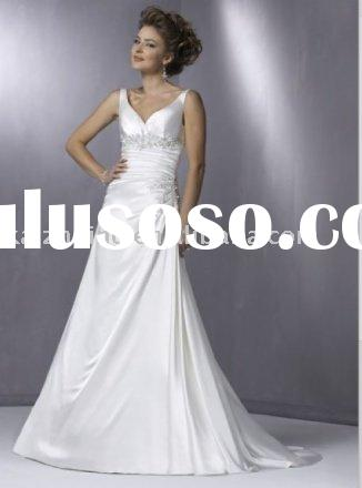 Hot satin formal bead mermaid wedding dress prom dress bride gown