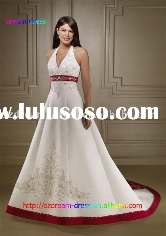 Ivory and Crimson Satin Bride wedding dress Prom Gown