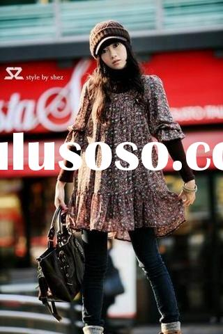 Lady dress Designer clothes Down garment Small Flower Pattern Summer Dress on Promotion 526012