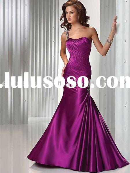 Long Vintage Lilac One Shoulder Tube Top Formal Evening Dress