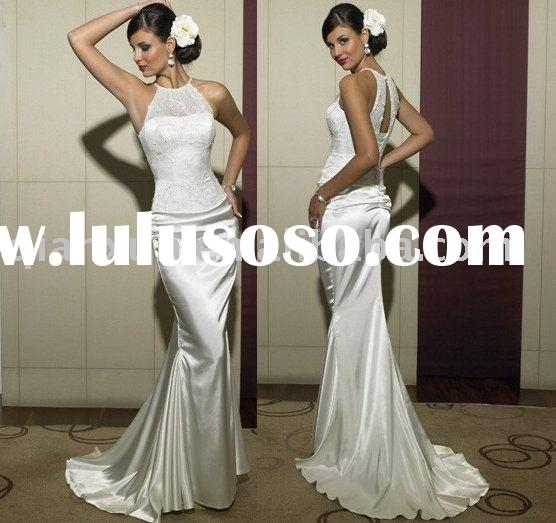 Mermaid Queen Anne Sweeping Train Satin wedding dress for brides 2009 style