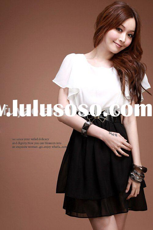 New Black and white elegant chiffon flounce sleeve fashion evening party dresses FY2448