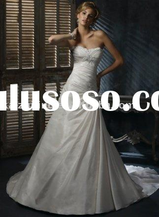 New arrival strapless bead mermaid wedding dress prom gown bride gown