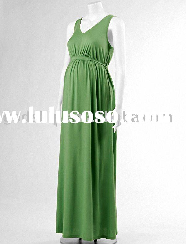 Normal Strap Green Maternity evening dress
