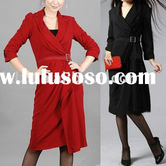 On sale lady formal gown DK770 red , black long dress coat