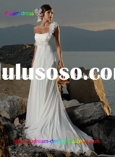 One-Shoulder Bride wedding dress Prom Gown