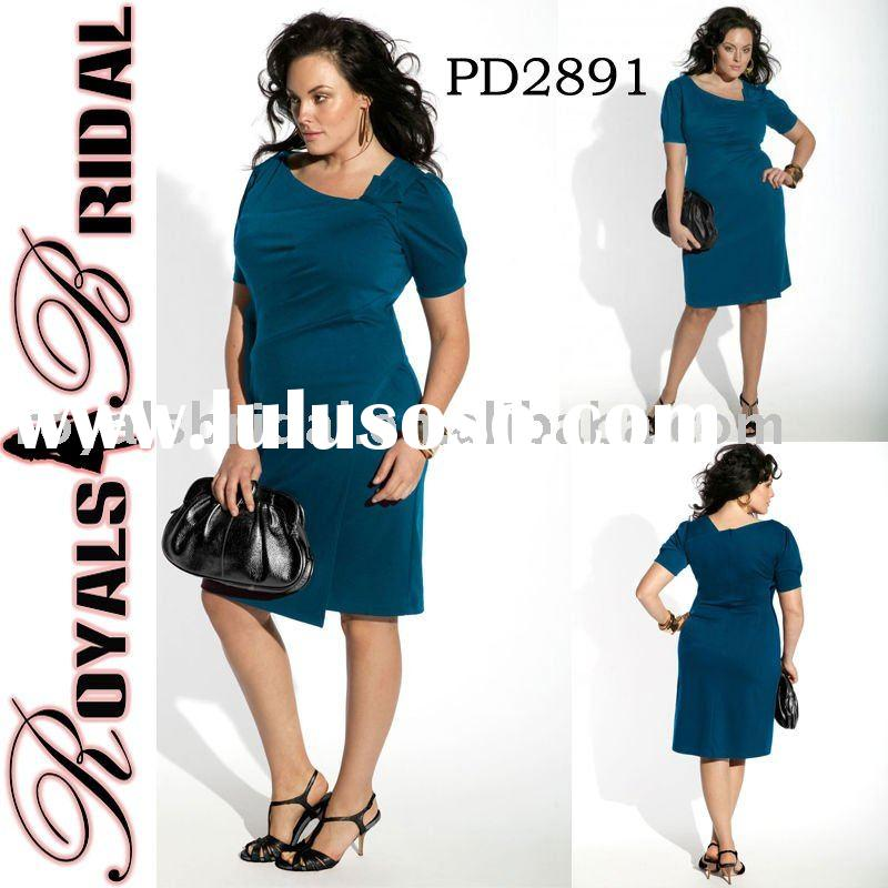 Plus Size Tea Length Blue Color Party Dress