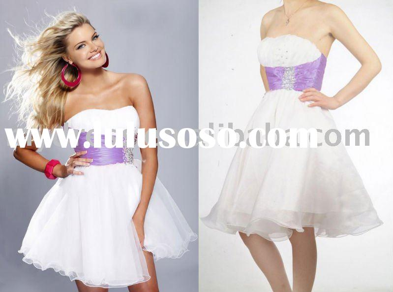 Popular Short Purple&White Prom Ball Gown Evening Dress JH902