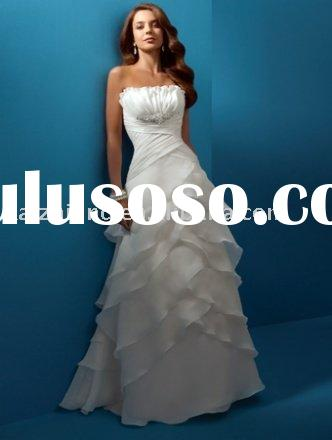 Popular stack up drape bead strapless bride dress wedding dress prom gown