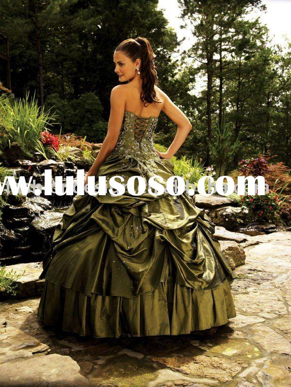 QB149  Taffeta embroidery green prom dresses quinceanera gown