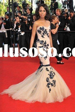 RCP052  Gorgeous mermaid tulle lace appliques celebrities dresses Red carpet prom dresses