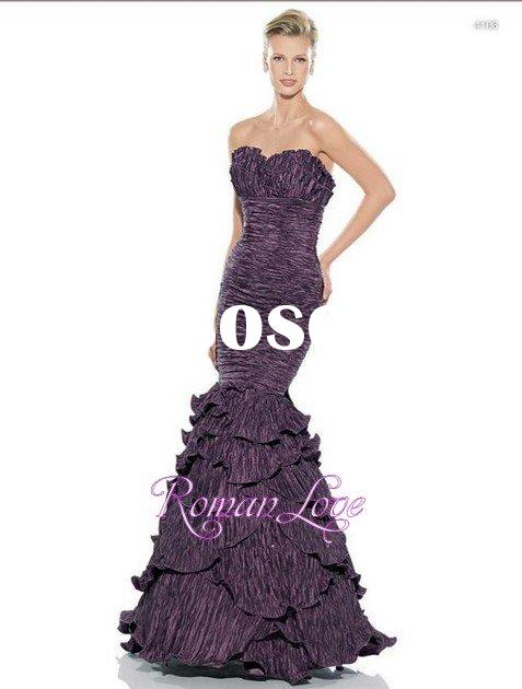 Ruffle sweetheart sheath small mermaid purple prom dresses