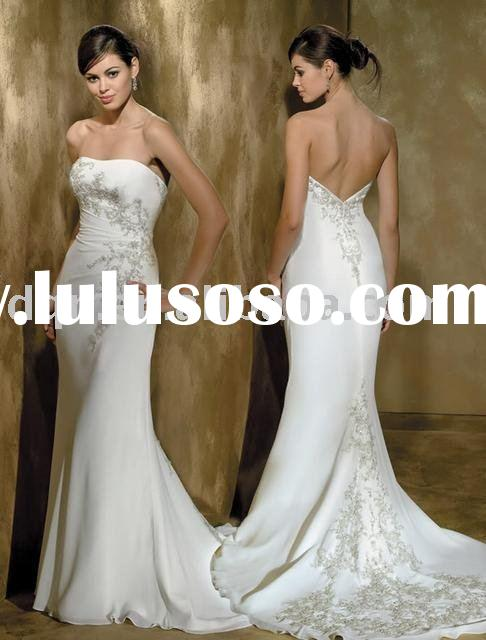 Satin Lace Luxury Ivory White Wedding Dress J015#