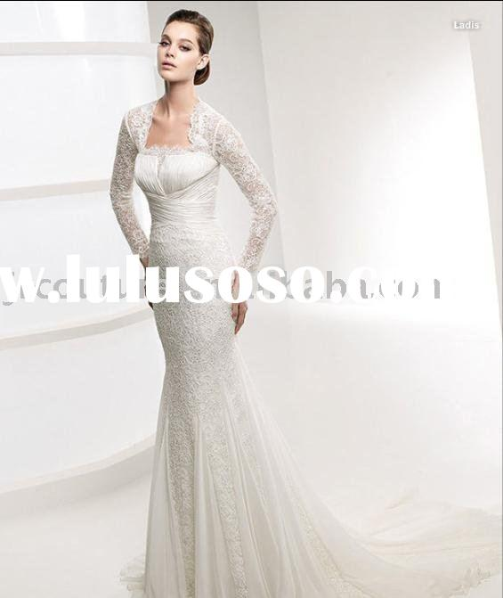Scallop Neck Lace Mermaid Wedding Dress