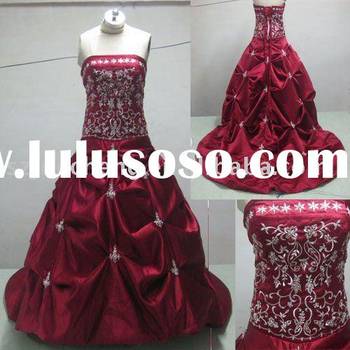 Shiny  classic red  ball  gown style  satin  pleated  appliqued  party  dress RPD30