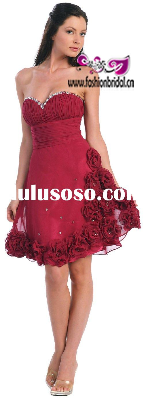 Sweetheart neckline red party dress