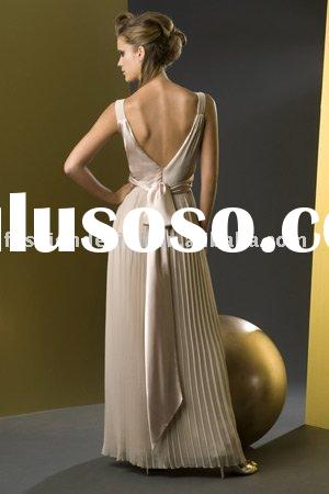 V-neck twist knot bodice with pleated skirt and tie back bridesmaid dresses  BD188