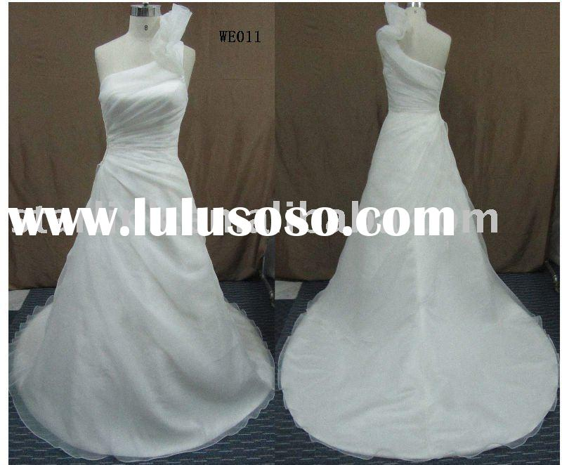 WE011-2011 fashion one shoulder white wedding dress