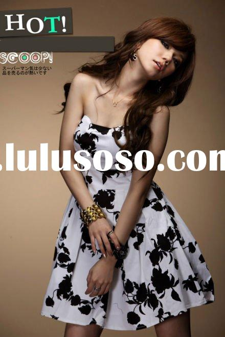 White fashion strapless party prom dress elegant short evening dress FY2282