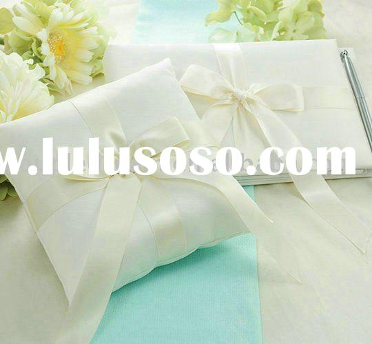 """Tied with a Bow"" Wedding Ring Pillow and Guest Book Set"