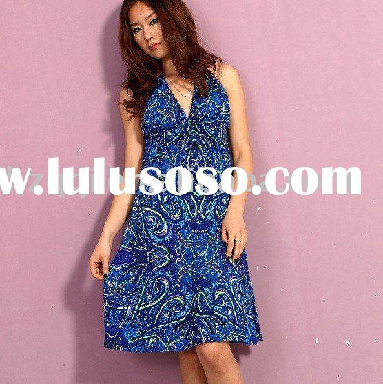 [cd1653] ladies fashion peacock feathers fancy printed dress