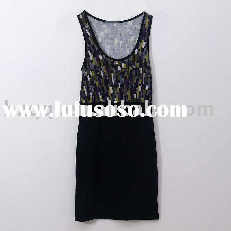 [cd1658] ladies fashion Vintage abstract pattern Tank top dress