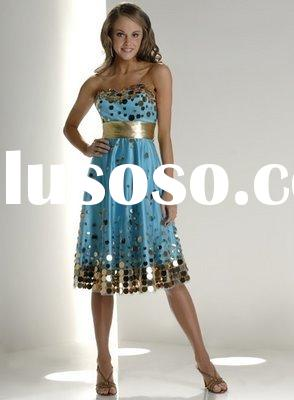 best design short sequined satin/net evening dress