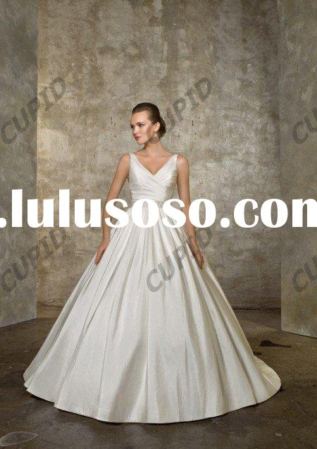 economical modest Ball Gown strapless ruffle wedding dresses for bridal